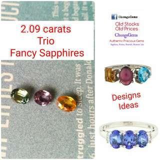 2.09 Trio coloured Sapphire stones