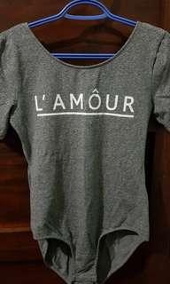 [PRE-LOVED] H&M L' AMÔUR Grey Body Suit