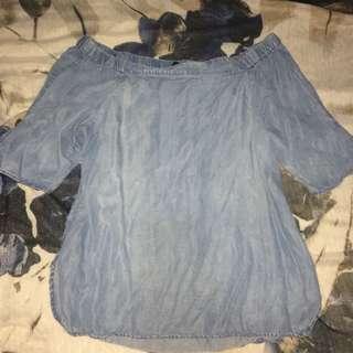 Denim off-shoulder blouse
