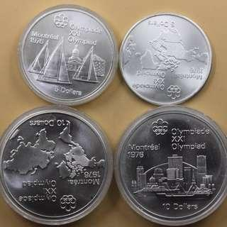 "1976 Canada series ""Montreal Olympic Games"" - Series I 4 pcs. (2x 10 dollars + 2x 5 dollars)"