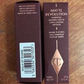 CHARLOTTE TILBURY Matte Revolution lipsticks walk of shame Bond girl stoned rose the queen