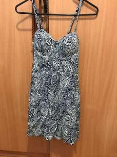 Dotti Padded blue/white spring dress