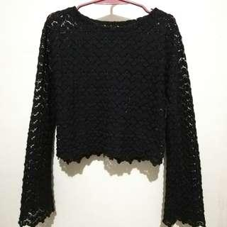 Black Lace Knit Pullover