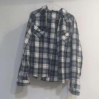 Topshop Blue White Yellow Checkered Plaid Oversized Soft Flannel Vintage Top Shirt Blouse Longsleeve