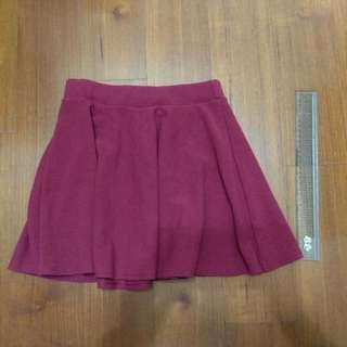 🚚 鬆緊腰酒紅色短裙/圓裙