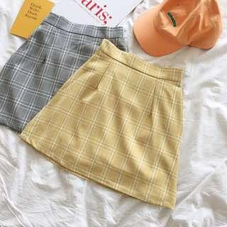 Yellow Korean Grid Skirt