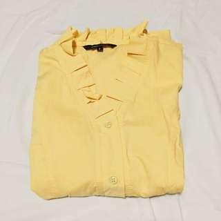 Yellow Ruffle Shirt - Kemeja Kuning Lengan Pendek