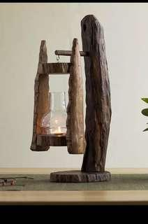Thailand 🇹🇭Wood Craft Candle Stand Lamp