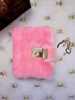 Hot Pink Fluffy Diary with Lock