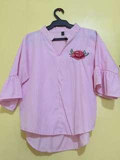 Zara Pink stripes polo