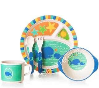 Bamboo竹纖維兒童圓盤餐具(鯊魚款)