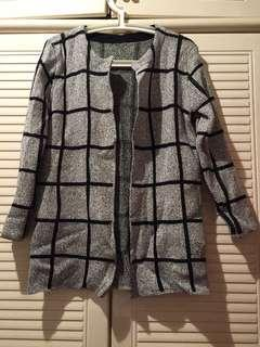 Checked knit cardigan warm jacket coat 格仔冷外套