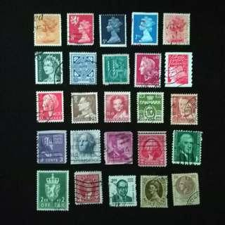25 mix used stamps