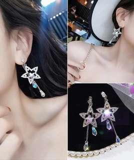 (Free pos 3 pairs & above) Korean design star shape 925 silver ear stud crystal earrings