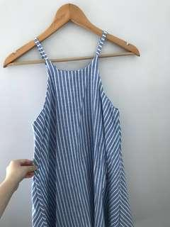 Blue and white stripes dress. Halter neck