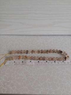 天然髮晶6mm圓珠花生形珠串16吋雨