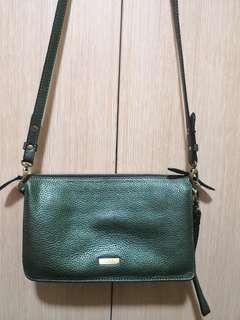 Authentic Fino leatherware sling bag wristlet metallic green