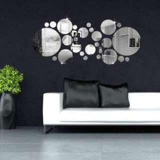 30Pcs Silver Polka Dot Mirror Wall Stickers Home Room Bedroom Office