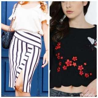 (Offer) Topshop detailed midi skirt & Mng with detailed embroidery top