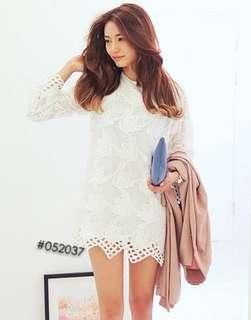 Size 6 , white lace dress/ one piece