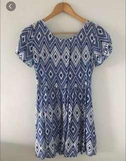 H&M blue printed dress
