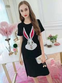 🐋Dress bunny sequins design