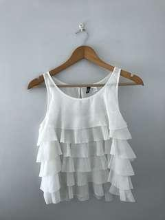 H&M white ruffle top