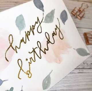 A6 Gold Foil Birthday Card with Watercolour