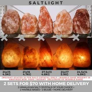 Authentic Himalayan Salt Crystal Lamps | 2 sets for only $70 with home delivery | Beautify & Purify | Natural 84 essential minerals for human body | Raw Luxury