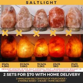 Authentic Himalayan Salt Crystal Lamps | Choose 2 sets with free home delivery | Beautify & Purify | 84 essential minerals beneficial to human body | Natural Raw Luxury