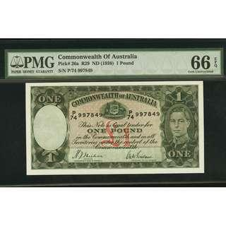 Commonwealth of Australia £1 ND (1938) Pick 26a R29 - PMG 66 TOP POP
