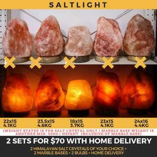 🚚 Authentic Himalayan Salt Crystal Lamps | 2 full sets with home delivery | Beautify and Purify | 84 essential minerals | Natural Antibacterial properties | Raw Luxury | Geological Treasures