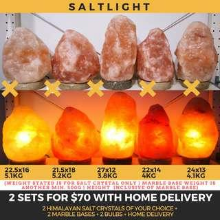 🚚 Authentic Himalayan Salt Crystal Lamps | 2 sets for $70 with home delivery | Beautify & Purify | 84 natural minerals essential to human body | Geological Treasures | Raw Luxury