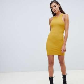 Missguided Racer Neck Mini Dress in Yellow