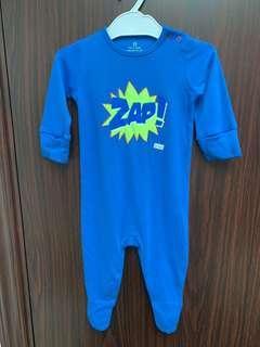 全新藍色Next Baby 棉質長袖包腳夾衣(3-6m) 送平竹中