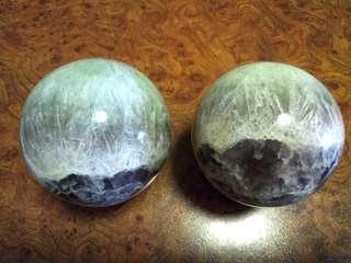 Twin Rainbow Fluorite Spheres