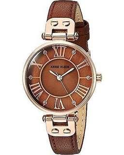 Anne Klein Women's Glitter Accented Leather Strap MOP Dial Watch-BROWN/ROSEGOLD