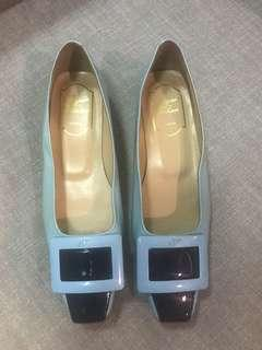 Excellent condition Authentic Roger Vivier light blue square tip low heels - 36 - fits 6-6.5.  Minor patent mark inner - not seen when worn.