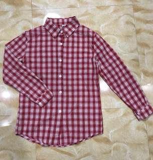 Red checkered Boyfriend button down shirt