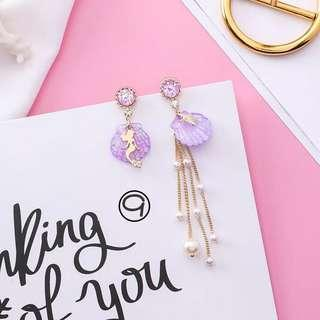 (Free pos 3 pairs & above) Korean design purple mermaid sea shell earrings