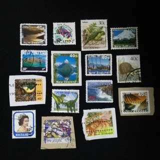 #15 New Zealand used stamps