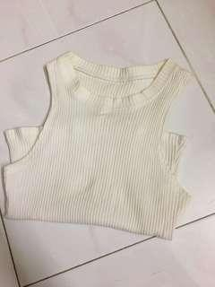 White knitted Crop Top