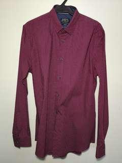 Cotton On Mens Shirt Maroon (M)