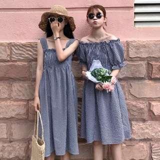 •PO• Checkered sleeveless/Off Shoulder Dress