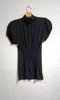 🚚 Zara Ribbed Waist and Back Cutout Button Turtleneck Top
