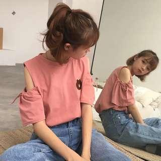 •PO• LINE friends Brown bear Off shoulder top dress tshirt