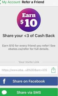CASHBACK $10 EBATES