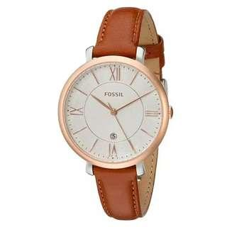 Fossil Jacqueline Brown Stainless-Steel Case Leather Strap Ladies