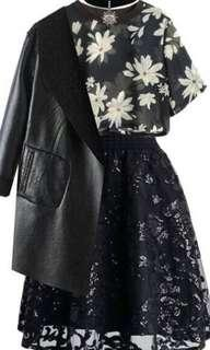 Divided by H&M Short Sleeves Black Crop Sheer Floral Top