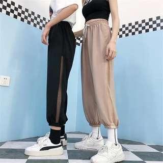 •PO• Side translucent lace jogger basic pants